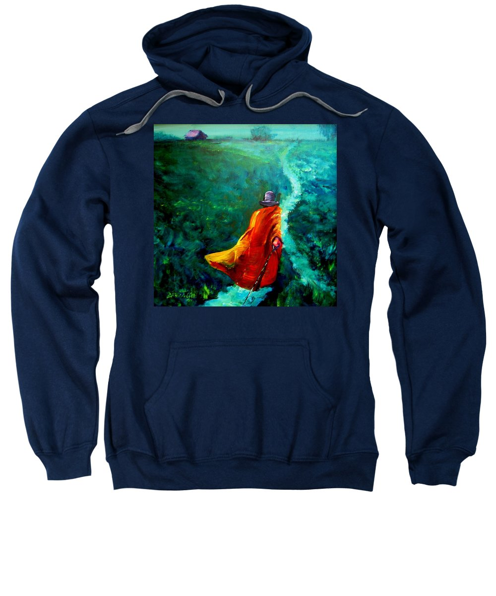 Expressionist Sweatshirt featuring the painting Up That Hill by Jason Reinhardt