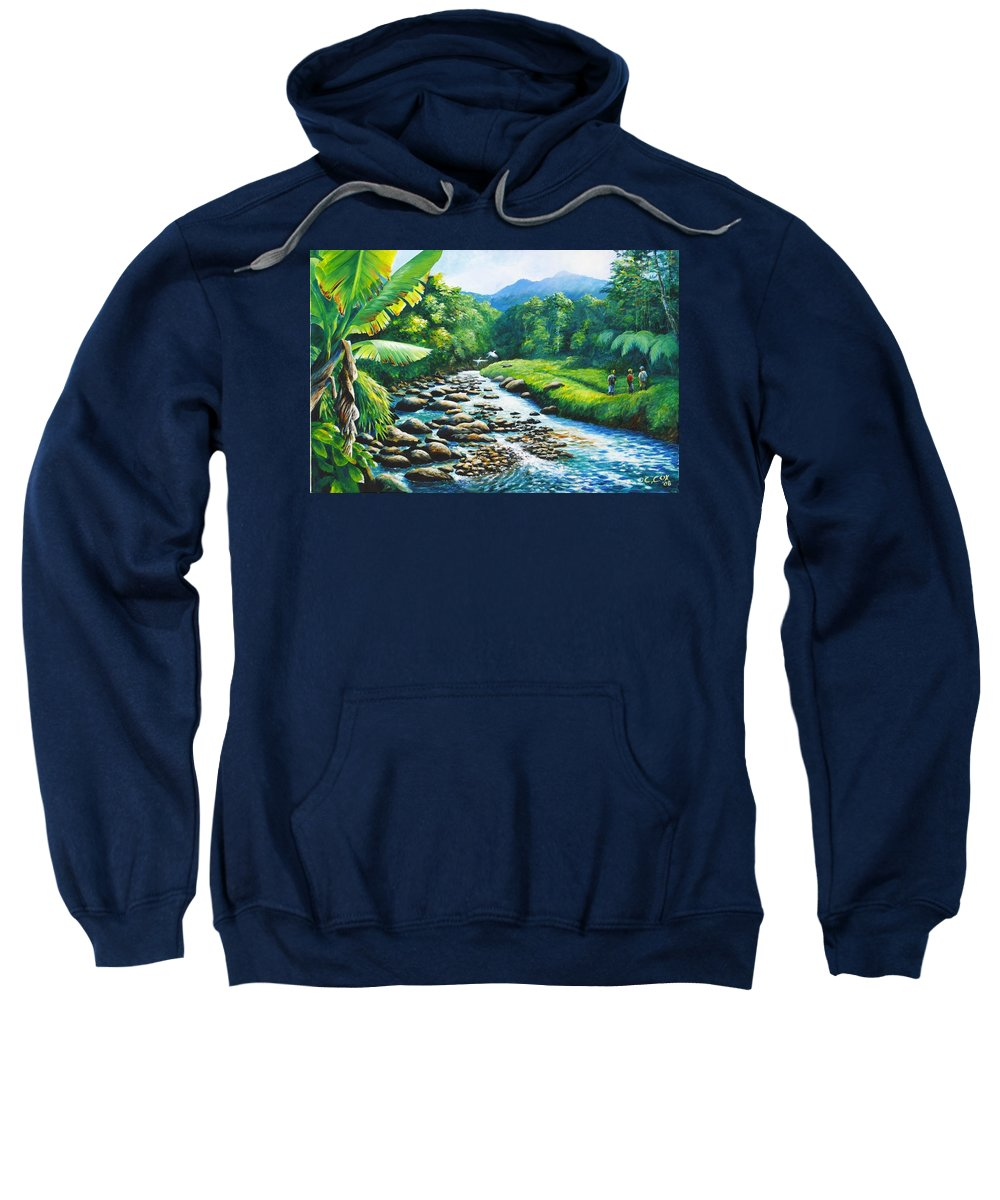 Chris Cox Sweatshirt featuring the painting Upriver by Christopher Cox