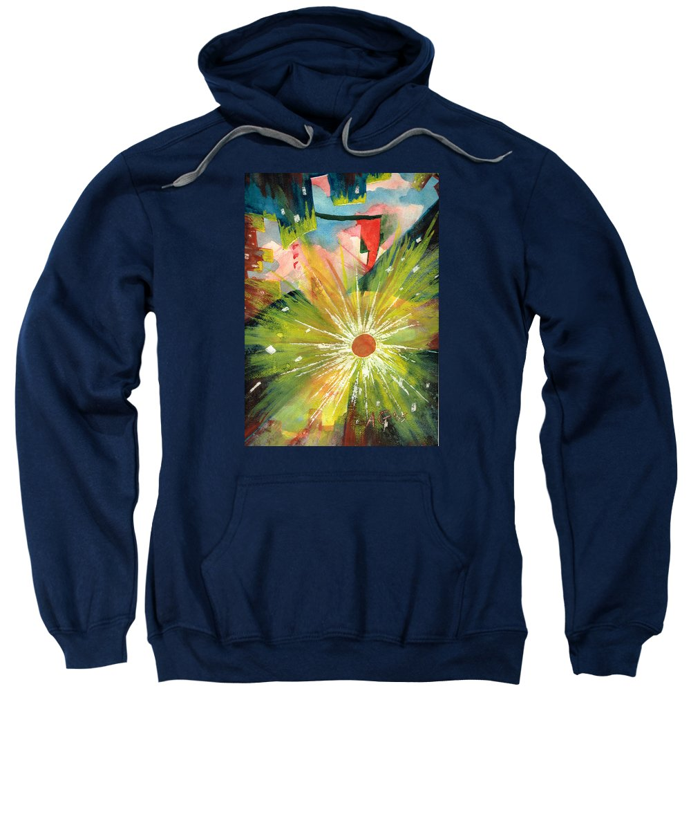 Downtown Sweatshirt featuring the painting Urban Sunburst by Andrew Gillette