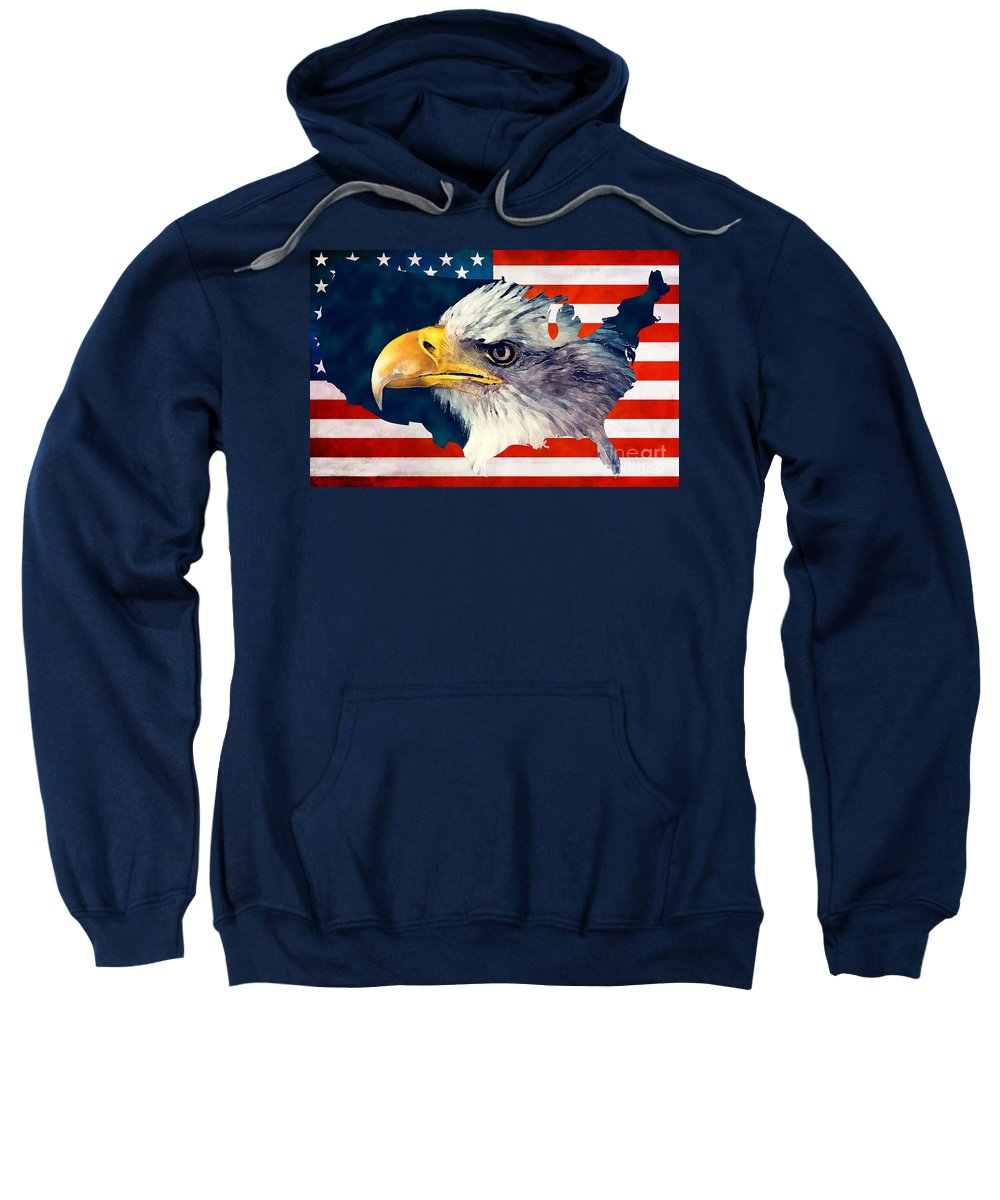 Usa Sweatshirt featuring the digital art Usa Flag Eagle by Justyna JBJart