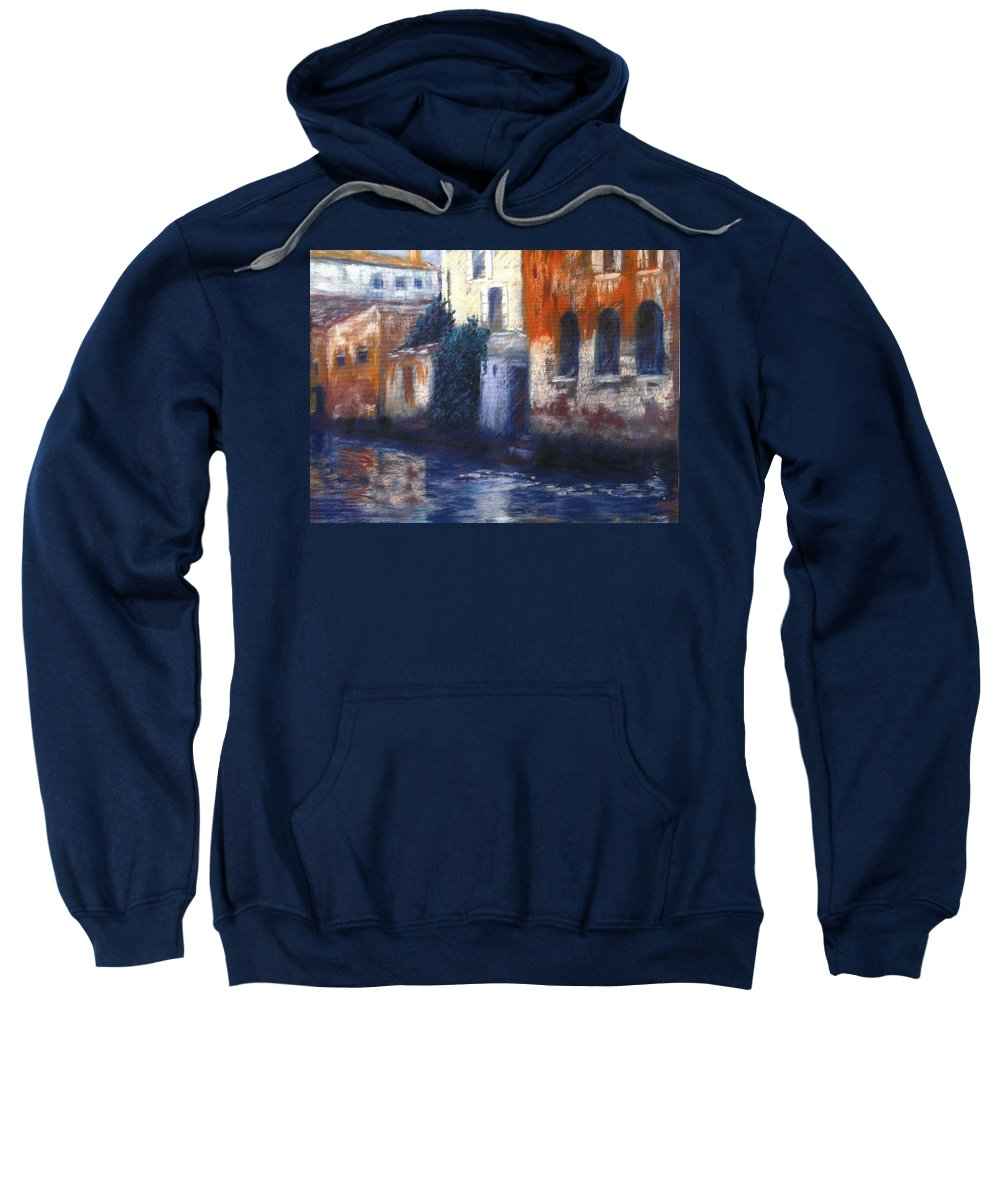 Venice Canals Old World Sweatshirt featuring the pastel Venice Reflections by Pat Snook