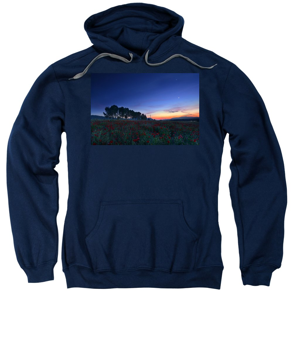 Planet Sweatshirt featuring the photograph Venus And Moon Over Spring Poppies by Guido Montanes Castillo