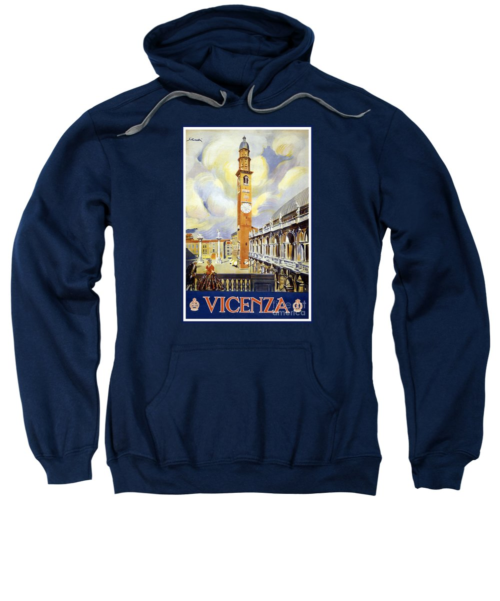 Vicenza Italy Travel Poster Sweatshirt featuring the painting Vicenza Italy Travel Poster by Dp