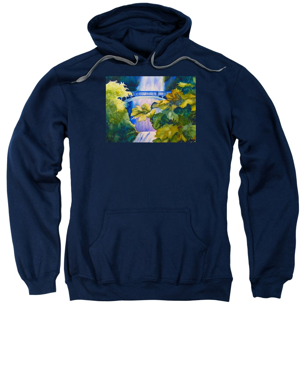 Waterfall Sweatshirt featuring the painting View of the Bridge by Karen Stark