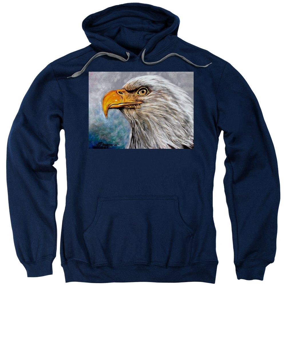 Eagle Sweatshirt featuring the painting Vigilant Eagle by Patricia L Davidson