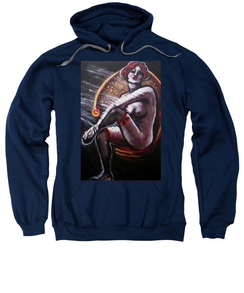 Original Sweatshirt featuring the painting Vintage Years-black Stockings by Carmen Tyrrell