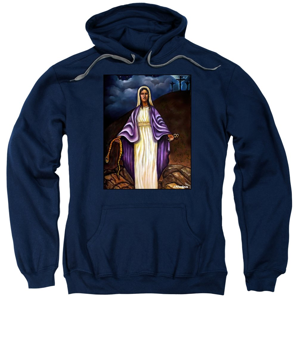 Virgin Mary Sweatshirt featuring the painting Virgin Mary- The Protector by Carmen Cordova