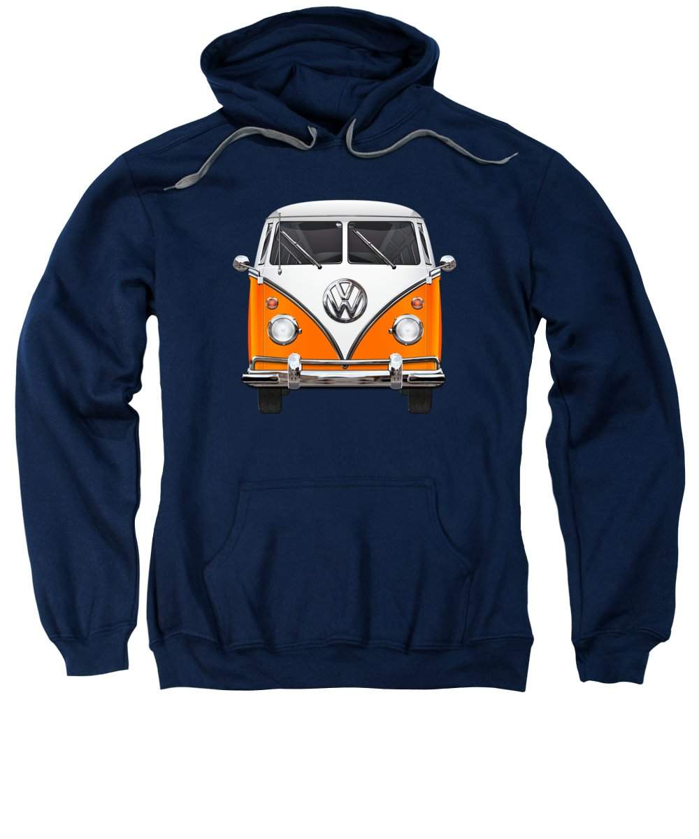 'volkswagen Type 2' Collection By Serge Averbukh Sweatshirt featuring the photograph Volkswagen Type - Orange and White Volkswagen T 1 Samba Bus over Blue Canvas by Serge Averbukh