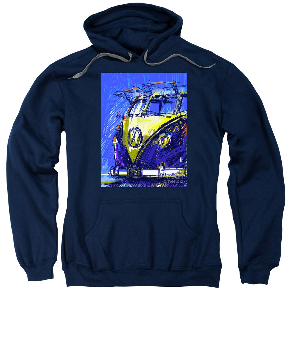 Vw Sweatshirt featuring the painting Vw Bus Blue by Peter Fogg