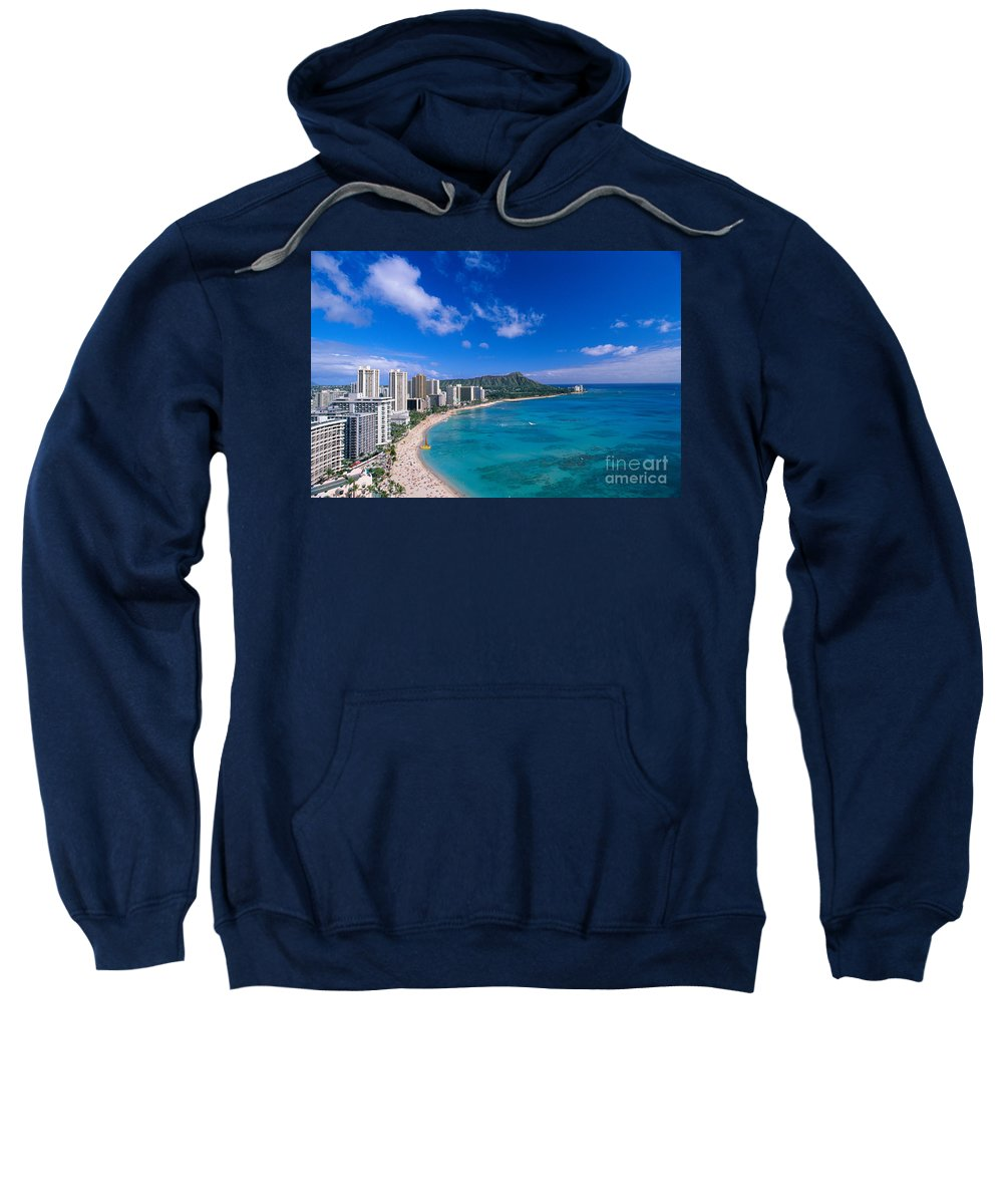 Aerial Sweatshirt featuring the photograph Waikiki And Diamond Head by William Waterfall - Printscapes