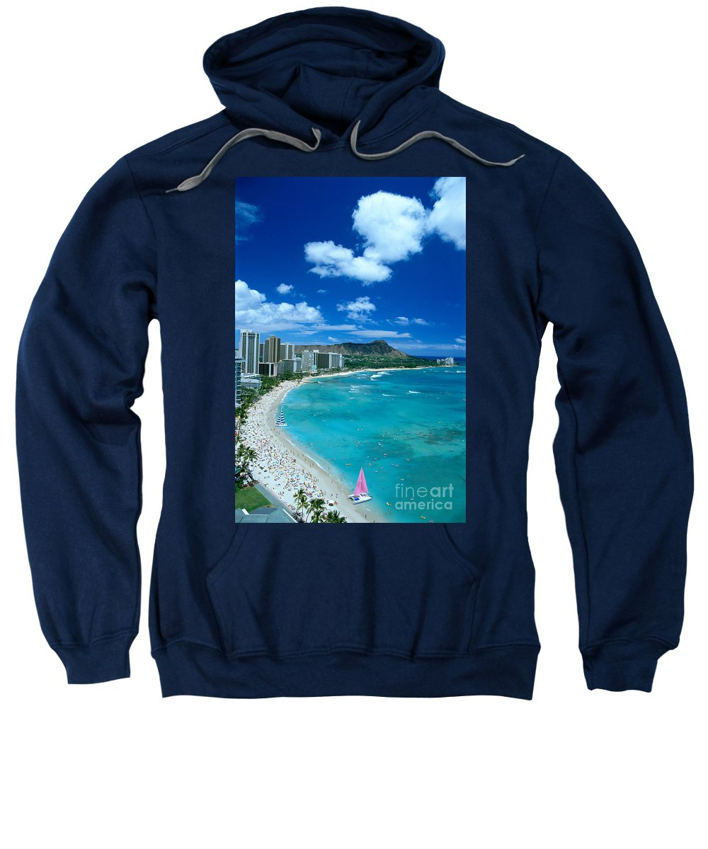 Aerial Sweatshirt featuring the photograph Waikiki Beach by Tomas del Amo - Printscapes