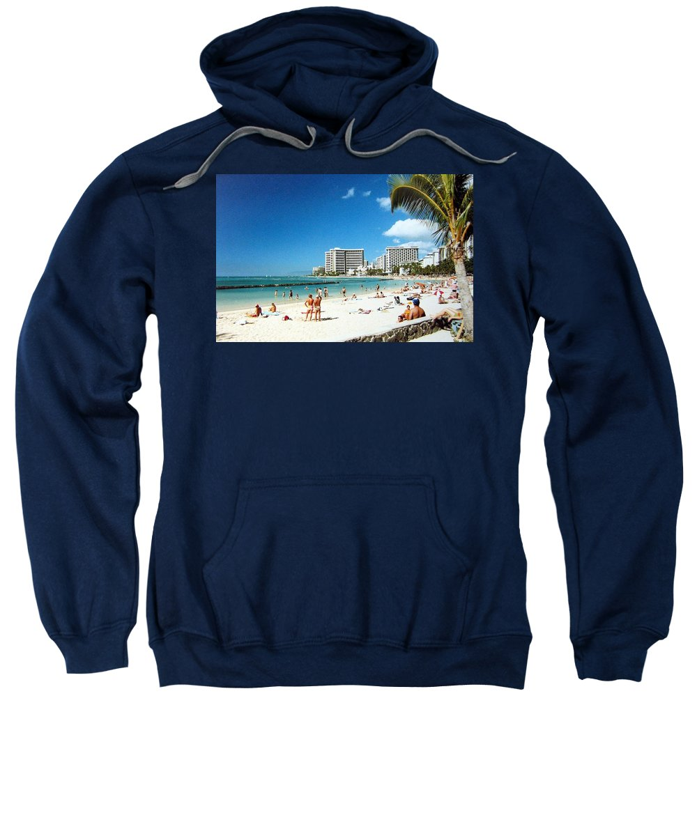 1986 Sweatshirt featuring the photograph Waikiki Beach by Will Borden