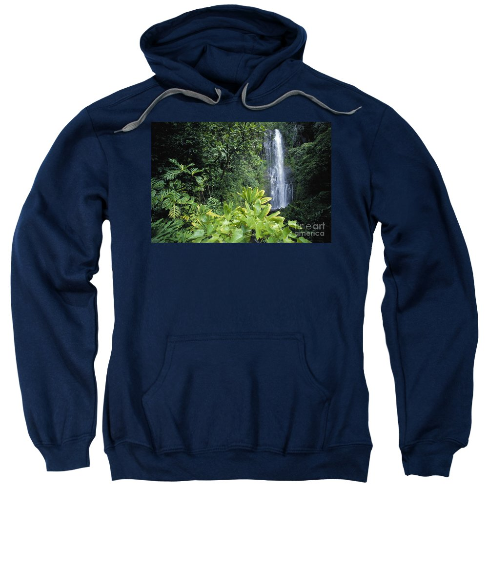 Afternoon Sweatshirt featuring the photograph Wailua Falls by Ron Dahlquist - Printscapes