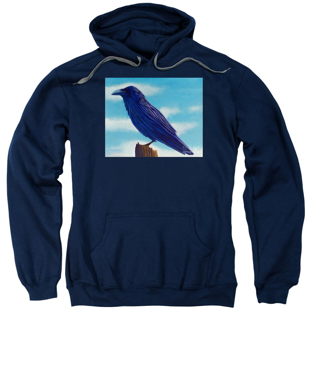Raven Sweatshirt featuring the painting Waiting by Brian Commerford