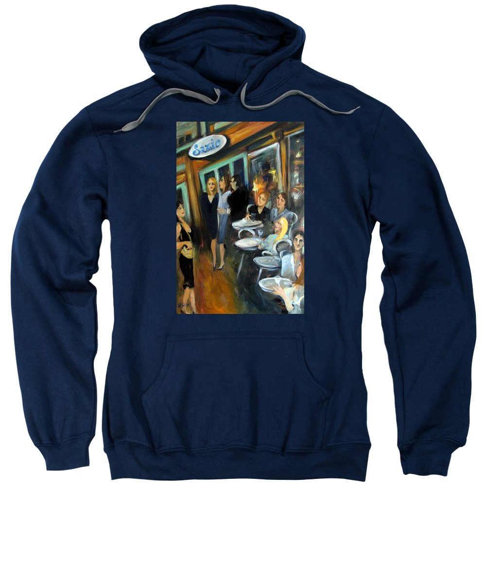 Sidewalk Cafe Sweatshirt featuring the painting Waiting For A Table by Valerie Vescovi