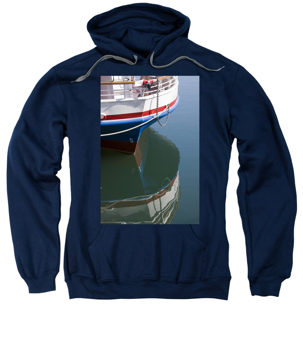 Chicago Windy City Boat Ride Lake Michigan Water Reflection Tourist Tourism Sweatshirt featuring the photograph Waiting For Passangers by Andrei Shliakhau
