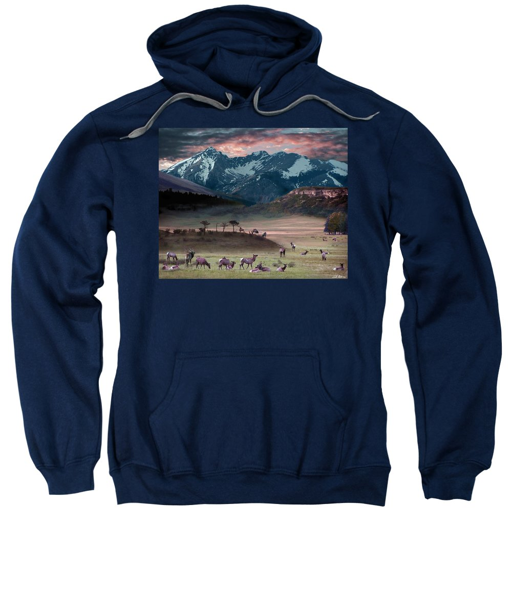 Wildlife Sweatshirt featuring the digital art Wapiti Heaven by Bill Stephens