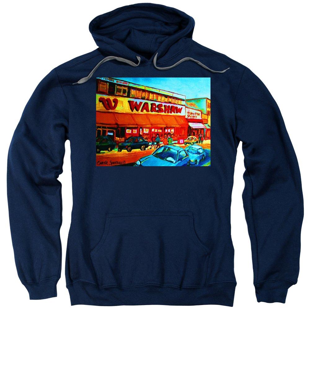 Warshaws Fruit Store Sweatshirt featuring the painting Warshaws Fruitstore On Main Street by Carole Spandau