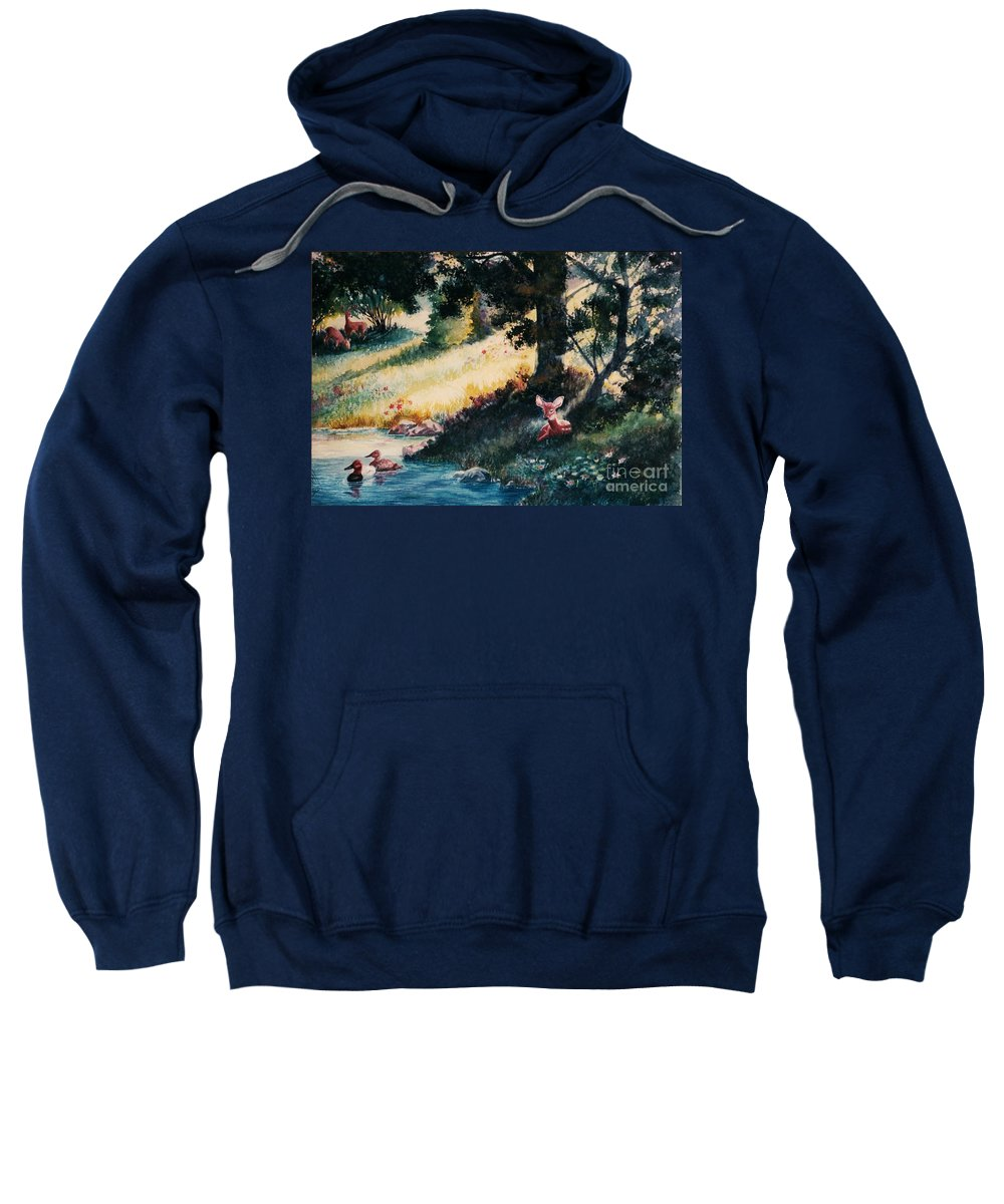 Animals Sweatshirt featuring the painting Watchful Eye by Marilyn Smith