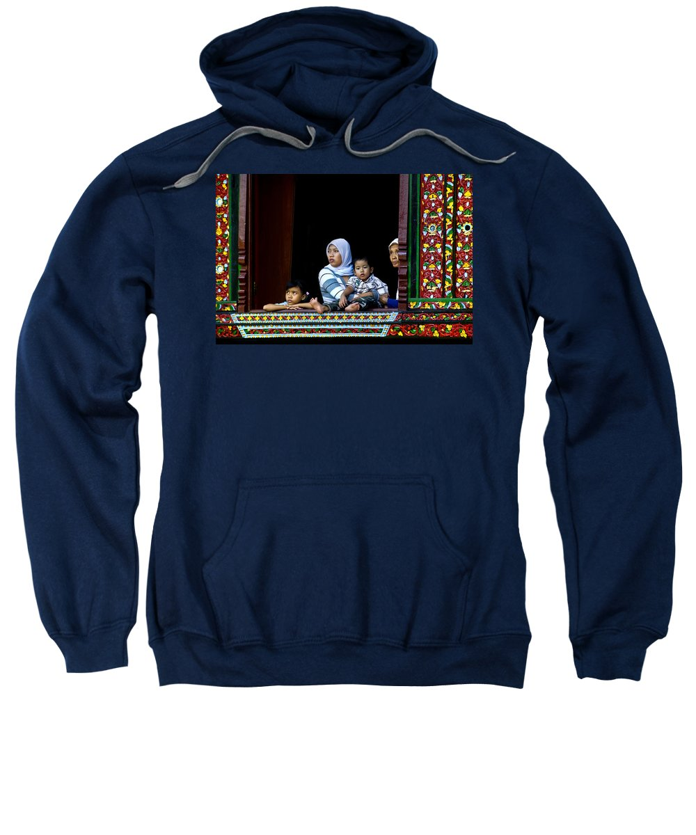 Art Sweatshirt featuring the photograph Watching From A Window by Charuhas Images