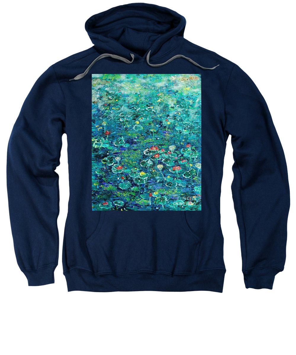 Water Lily Paintings Sweatshirt featuring the painting Water Lilies Lily Pad Lotus Water Lily Paintings by Seon-Jeong Kim