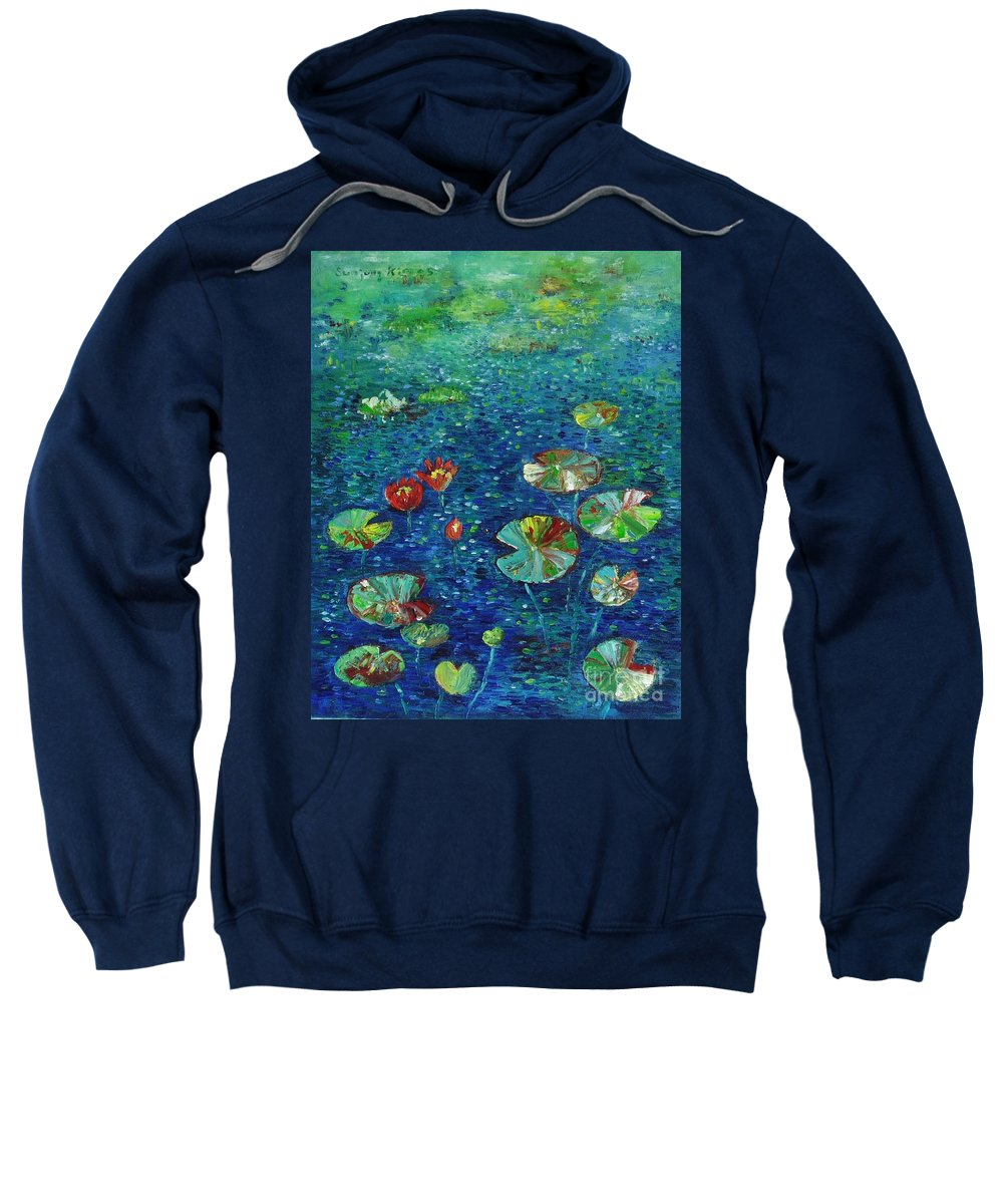 Lotus Paintings Sweatshirt featuring the painting Water Lily Lotus Lily Pads Paintings by Seon-Jeong Kim
