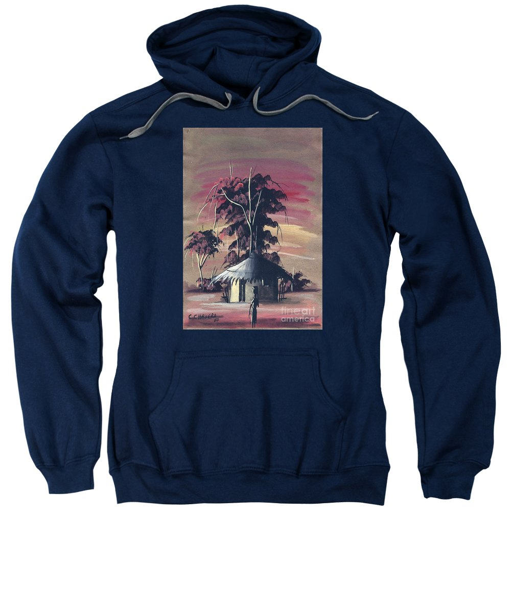 African Sweatshirt featuring the painting Watercolor 73 by Chrisfold Chayera