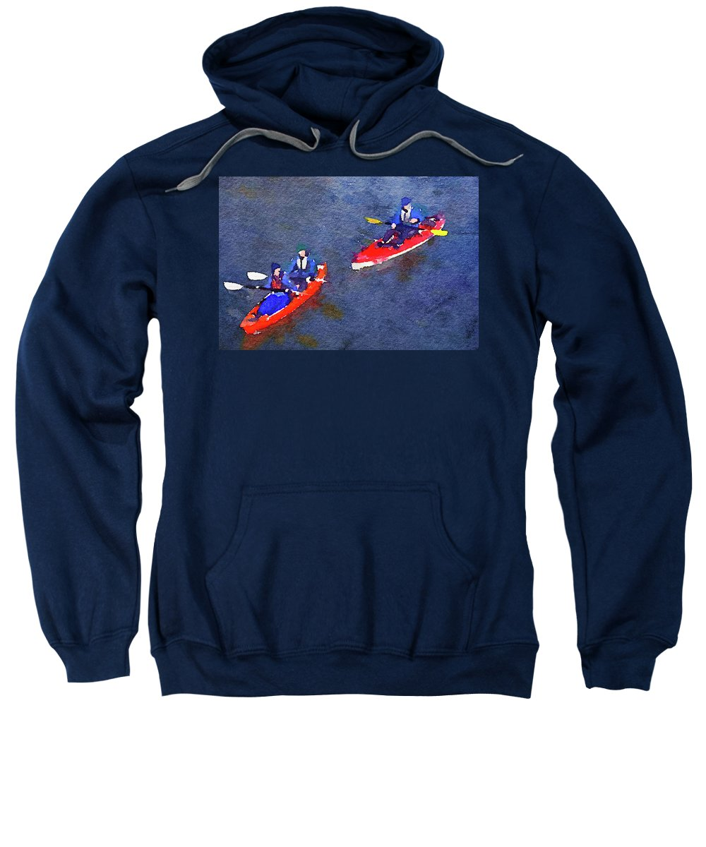 Canoeing Sweatshirt featuring the photograph Watercolor Painting Of Two Canoes by Anita Van Den Broek