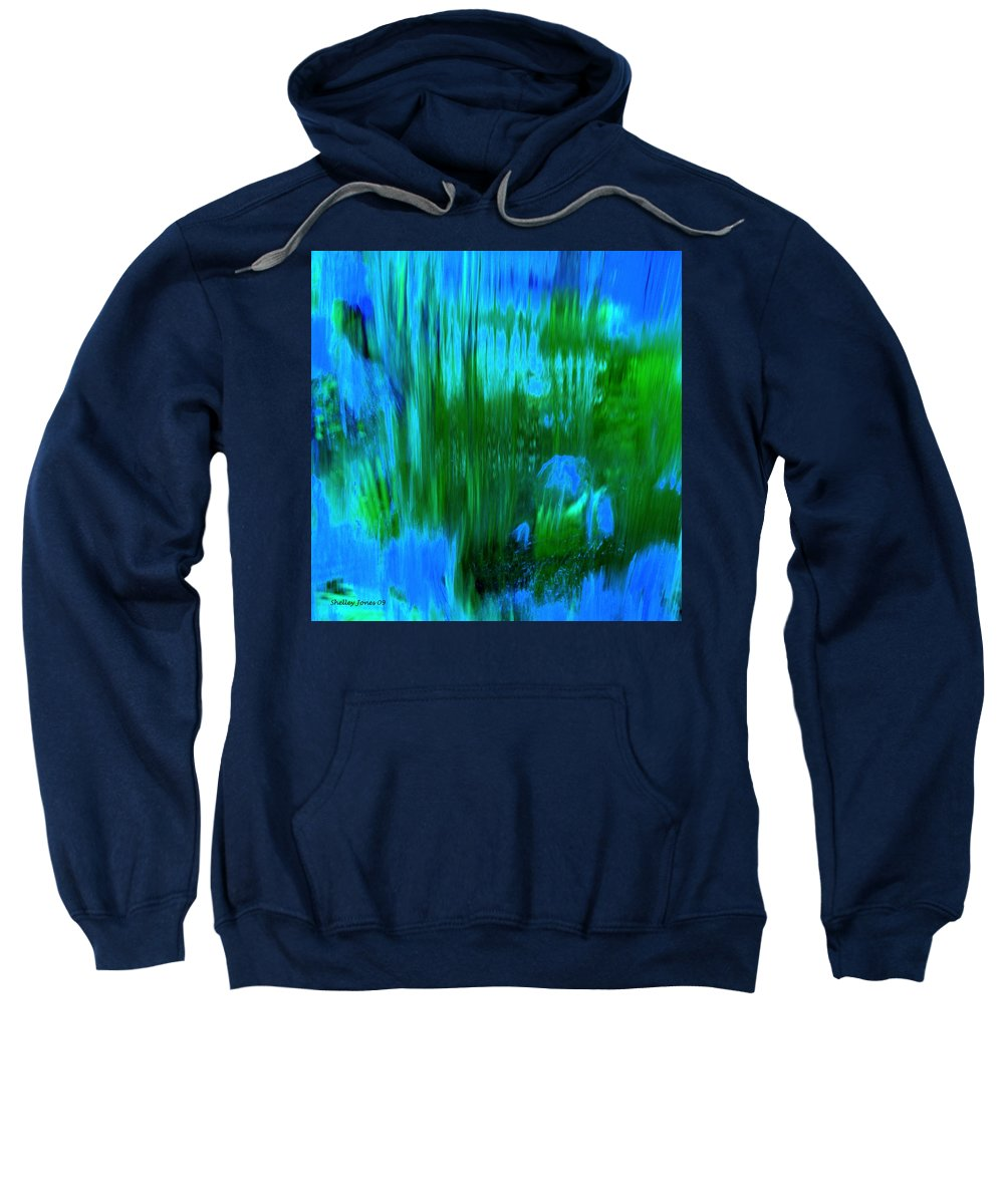 Digital Art Sweatshirt featuring the digital art Waterfall by Shelley Jones