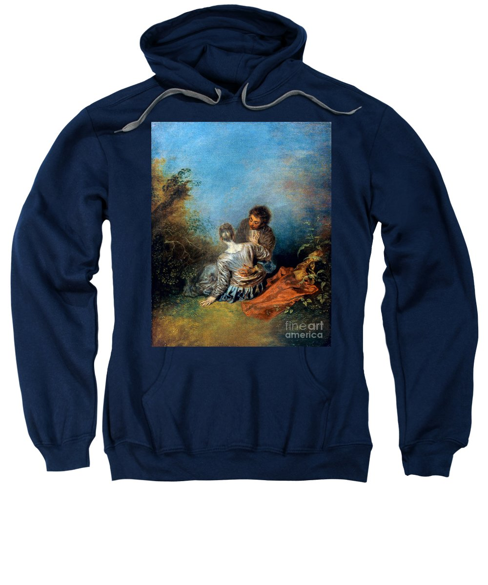 1717 Sweatshirt featuring the photograph Watteau: False Step, C1717 by Granger