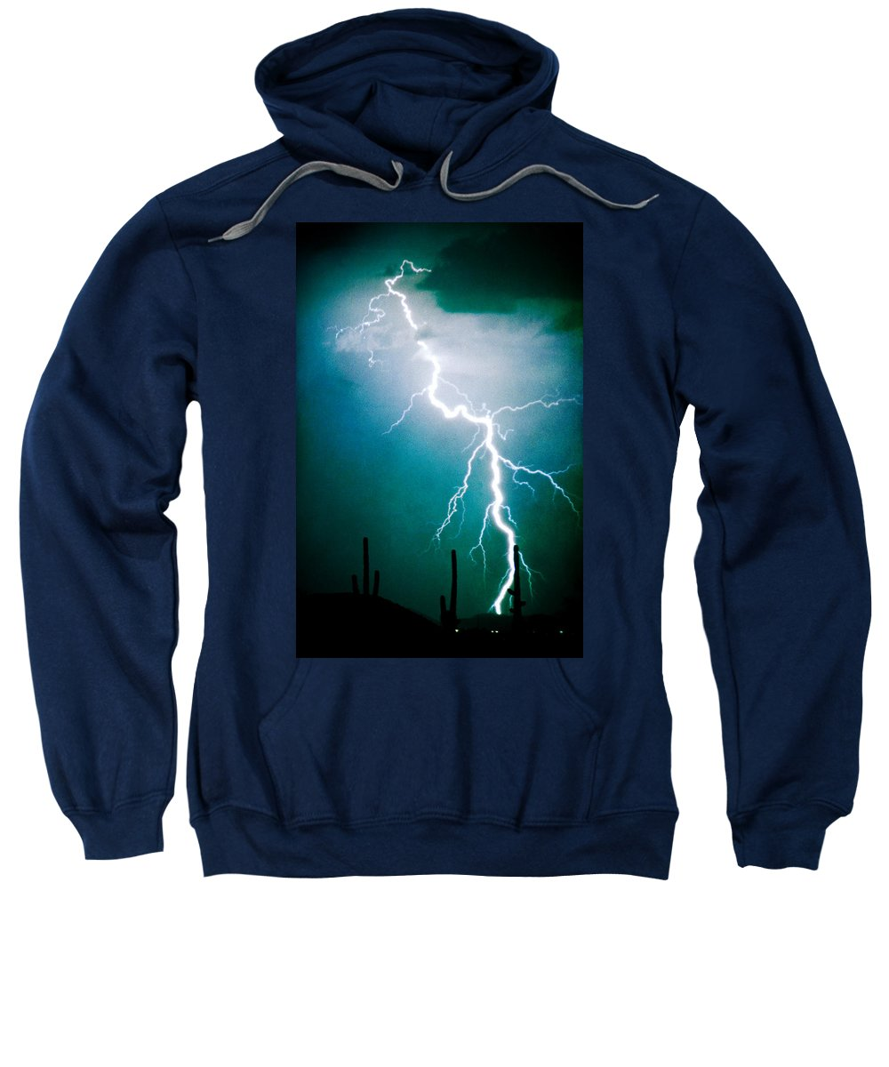 Lightning Sweatshirt featuring the photograph Way To Close For Comfort by James BO Insogna