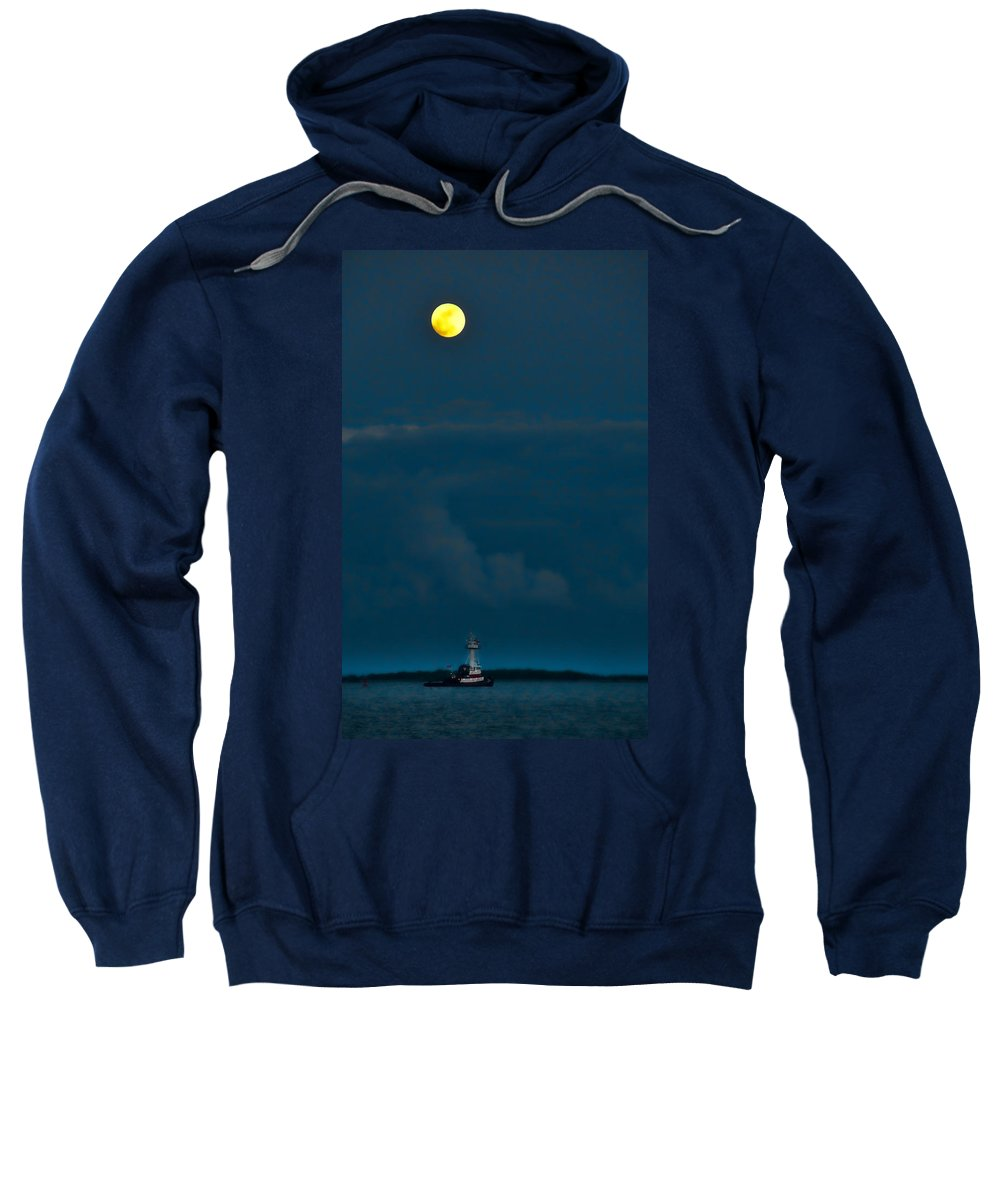 Boat Sweatshirt featuring the photograph We Sail Under The Moon by David Arment