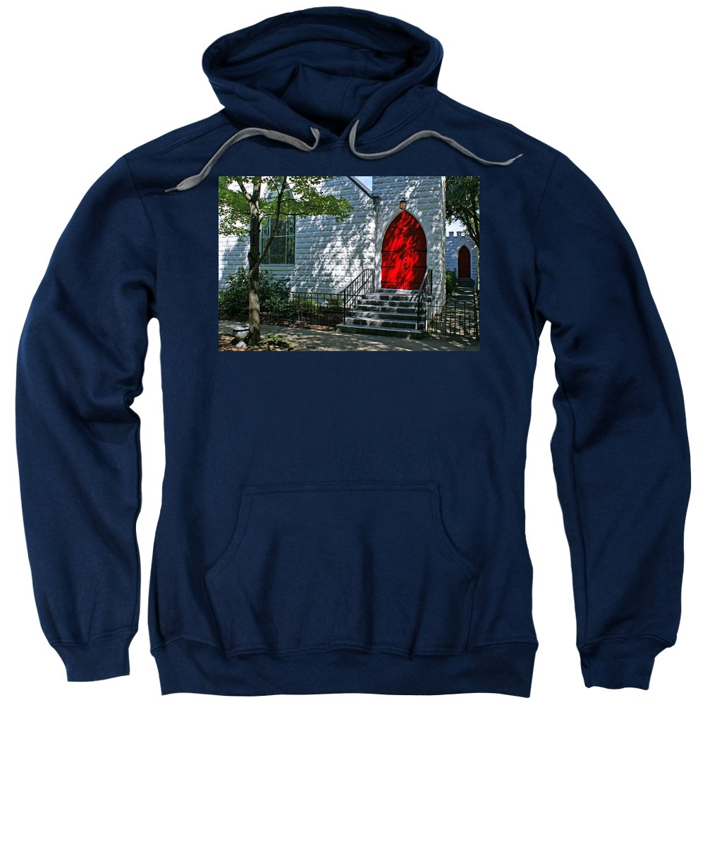Church Sweatshirt featuring the photograph Welcome by Sandy Keeton