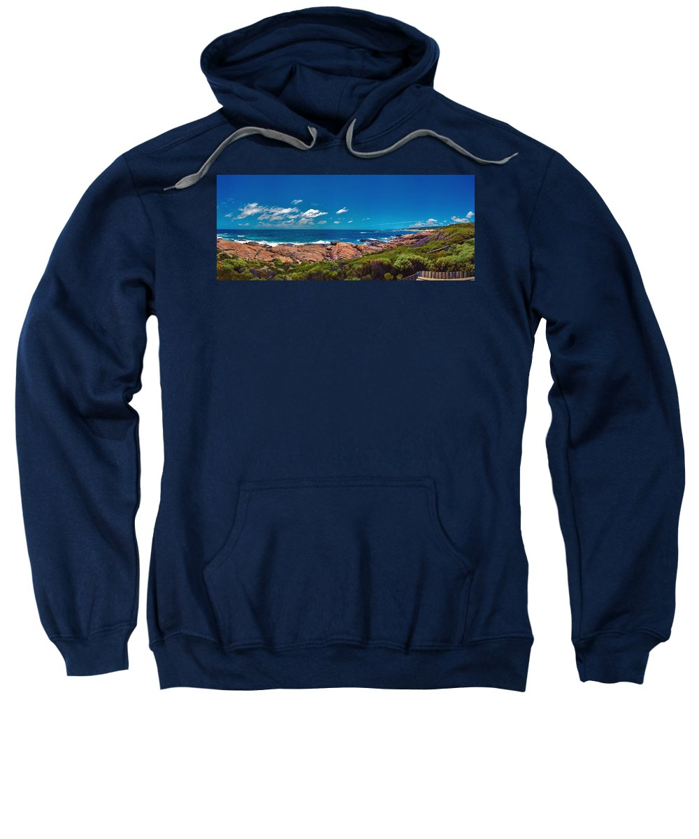 Busselton Jetty; Western Australia; Beach Panorama; Margaret River; Southern Hemisphere; Waterfront; Sweatshirt featuring the photograph Western Australia Beach Panorama Margaret River by David Zanzinger