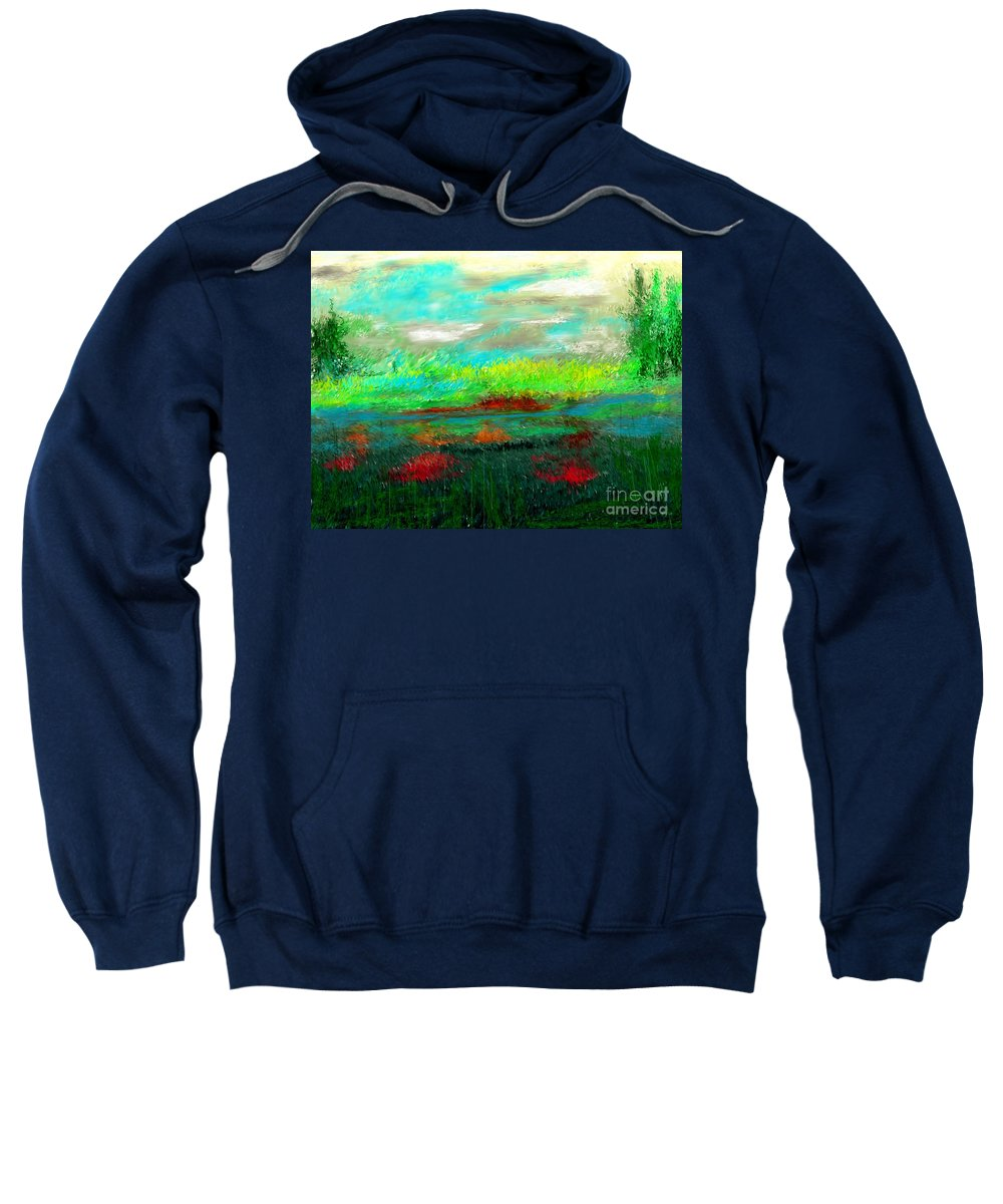 Nature Sweatshirt featuring the digital art Wetlands by David Lane