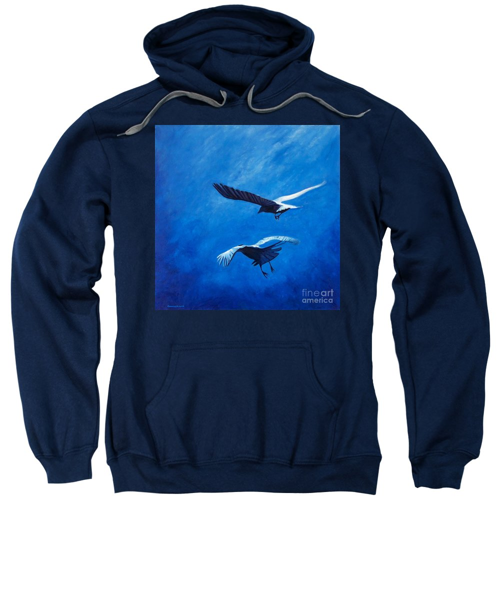 Birds Sweatshirt featuring the painting When The Light Comes by Brian Commerford