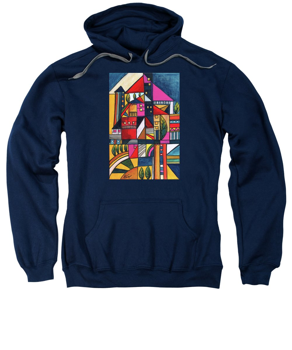 Abstract Painting Sweatshirt featuring the painting When The Night Comes by Aniko Hencz