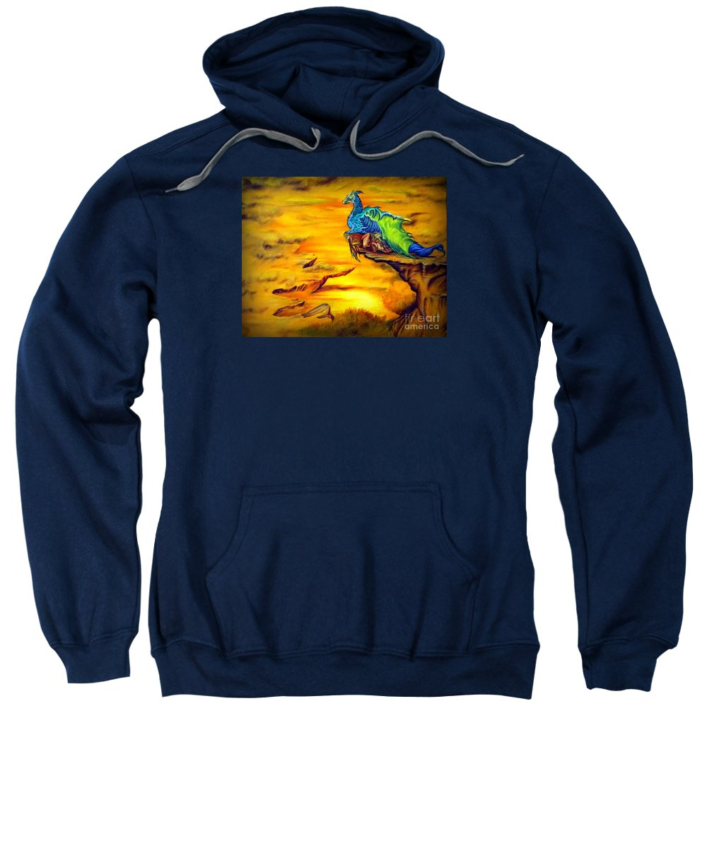 Dragons Sweatshirt featuring the painting Dragons Valley by Georgia's Art Brush