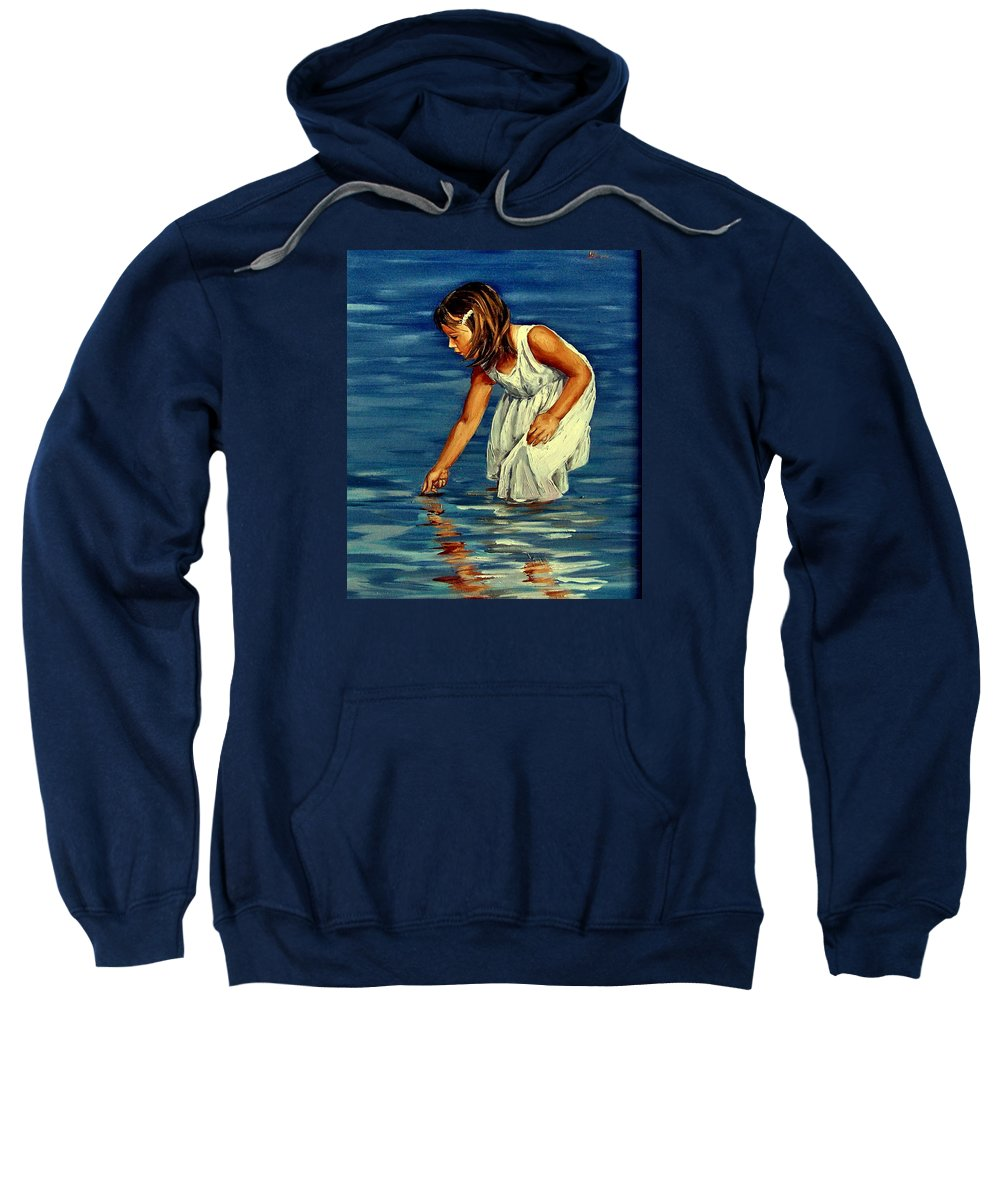 Girl Sweatshirt featuring the painting White Dress by Natalia Tejera