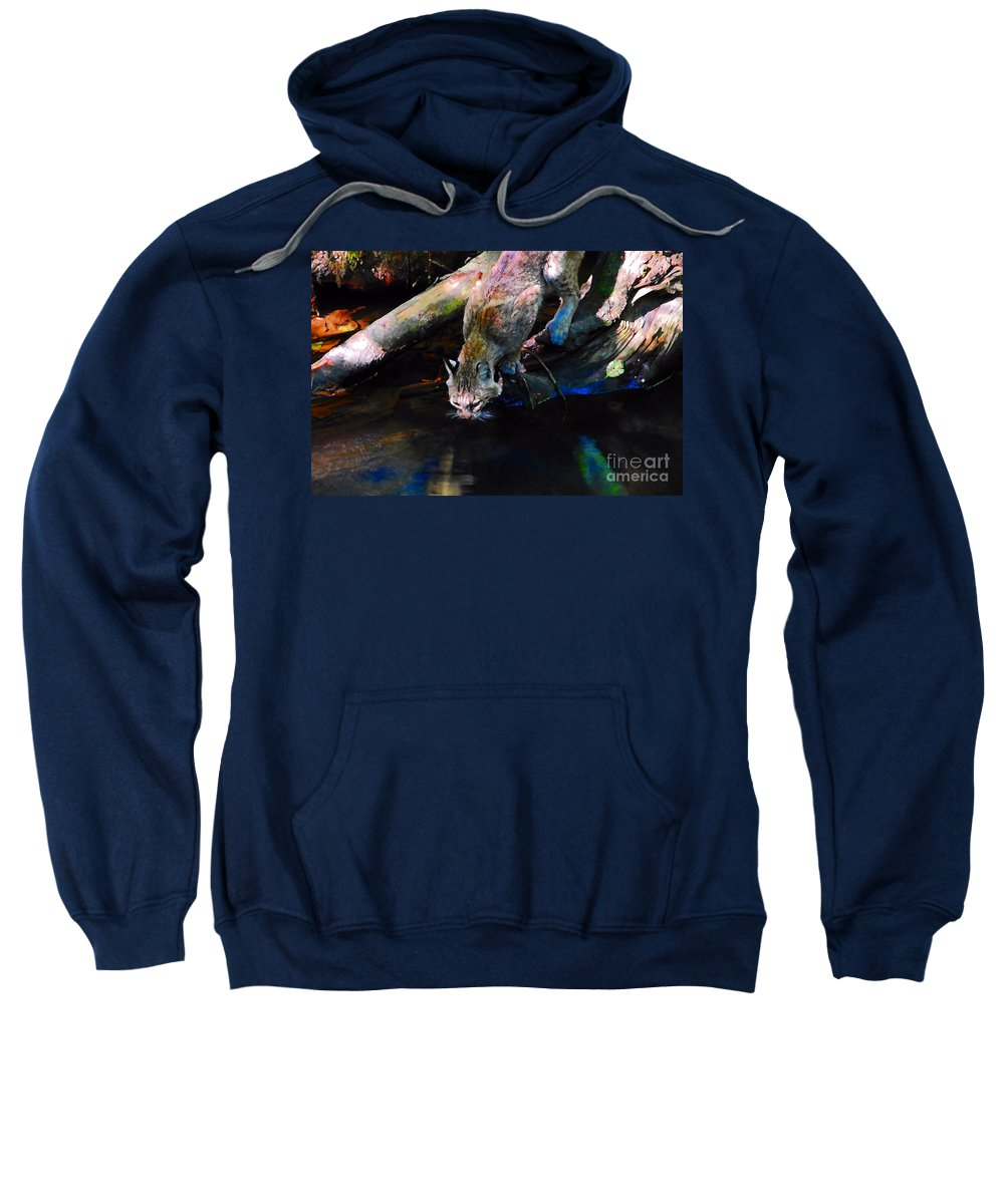 Cat.wild Sweatshirt featuring the photograph Wild Cat Drinking by David Lee Thompson