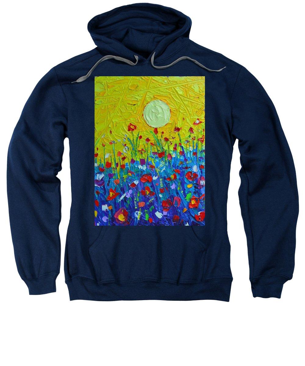 Wildflowers Sweatshirt featuring the painting Wildflowers Meadow Sunrise by Ana Maria Edulescu