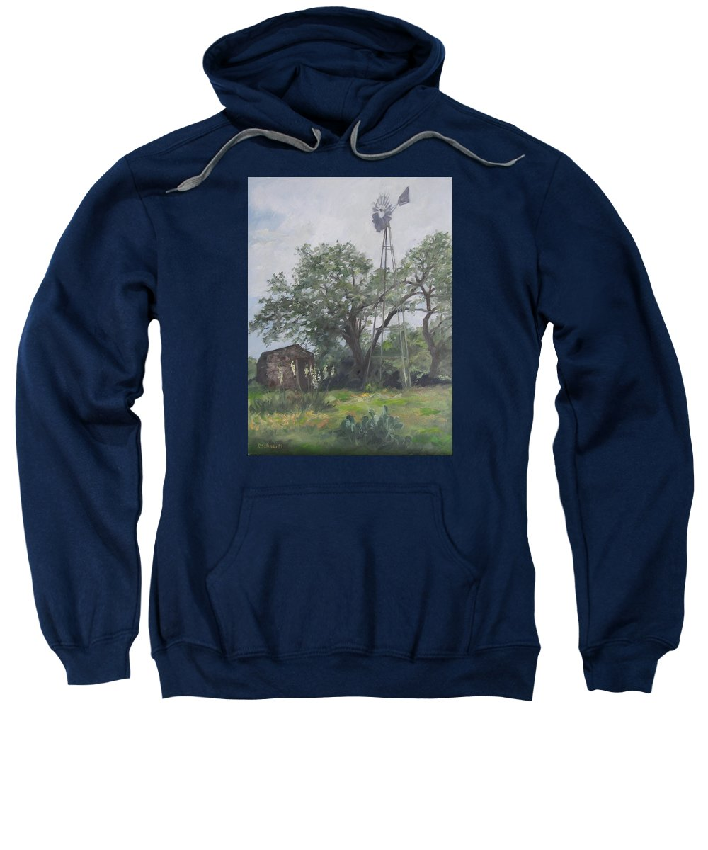 Texas Sweatshirt featuring the painting Windmill At Genhaven by Connie Schaertl
