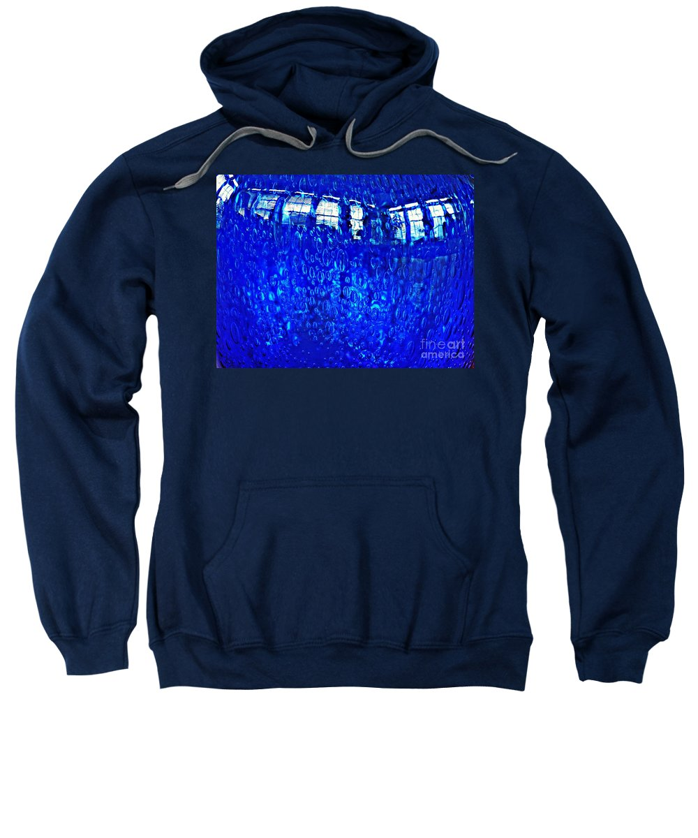 Glass Sweatshirt featuring the photograph Windows Reflected On A Blue Bowl by Sarah Loft