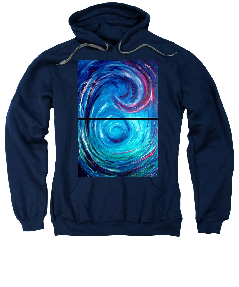 Blue Sweatshirt featuring the painting Windwept Blue Wave And Whirlpool Diptych 1 by Nancy Mueller