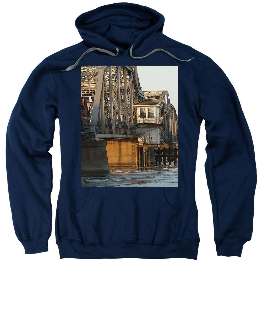 Bridge Sweatshirt featuring the photograph Winter Bridgehouse by Tim Nyberg