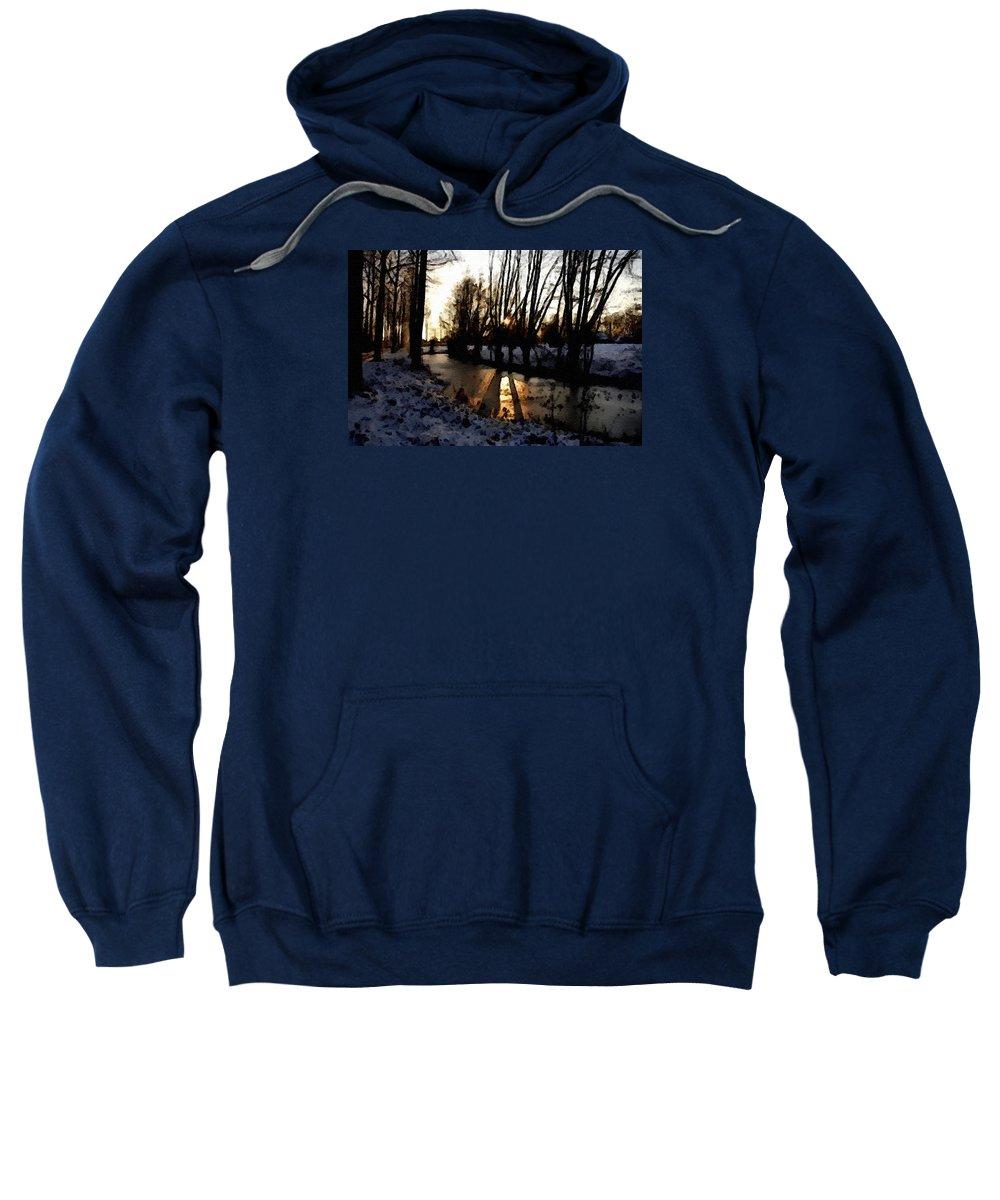 Announcement Sweatshirt featuring the painting Winter Creek H B by Gert J Rheeders