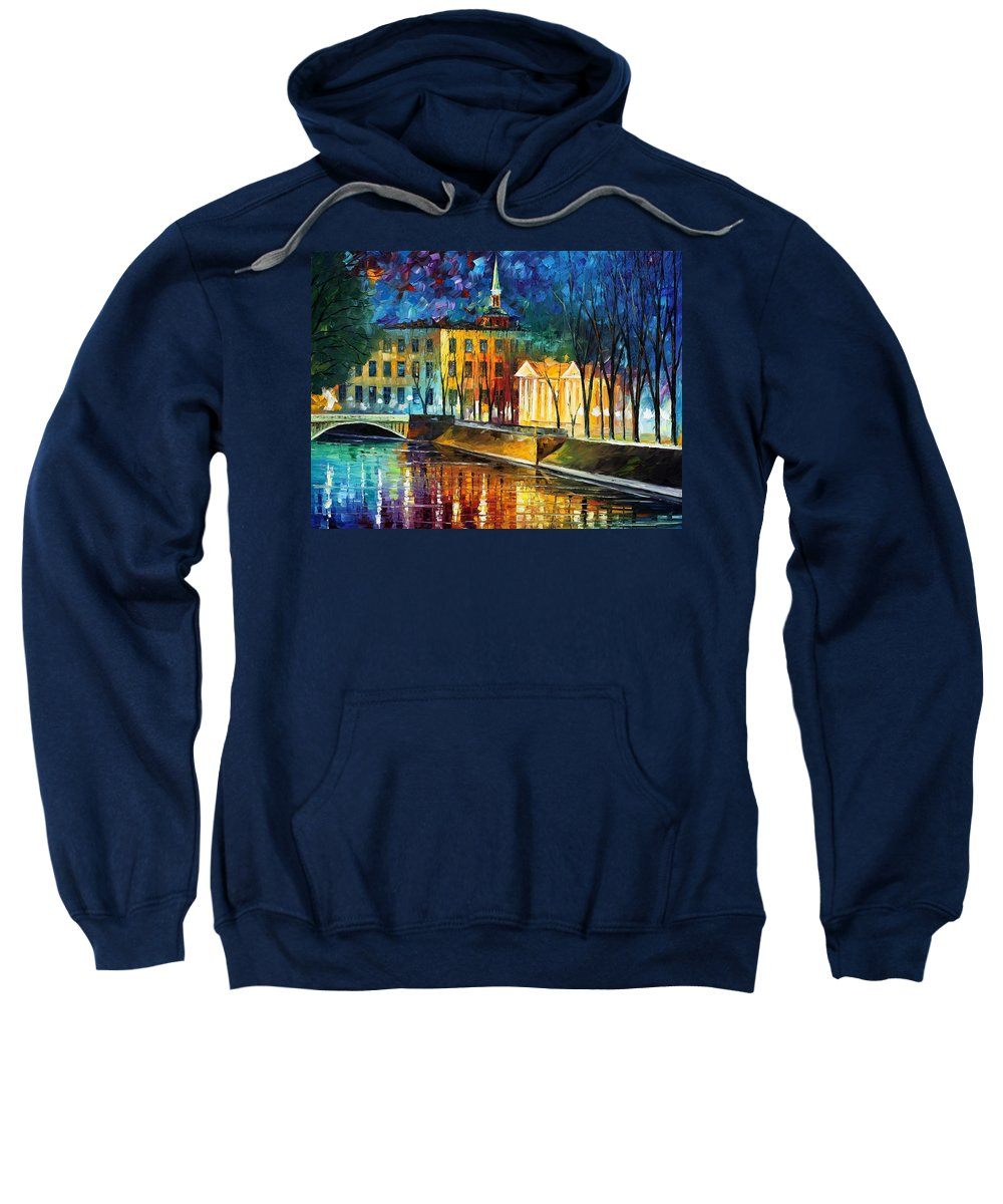 Afremov Sweatshirt featuring the painting Winter Vibrations by Leonid Afremov