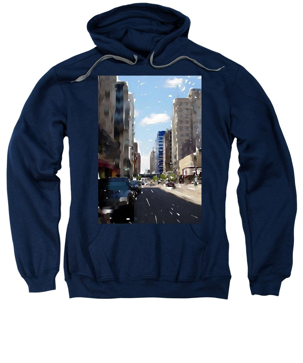 Milwaukee Sweatshirt featuring the digital art Wisconsin Ave 2 by Anita Burgermeister