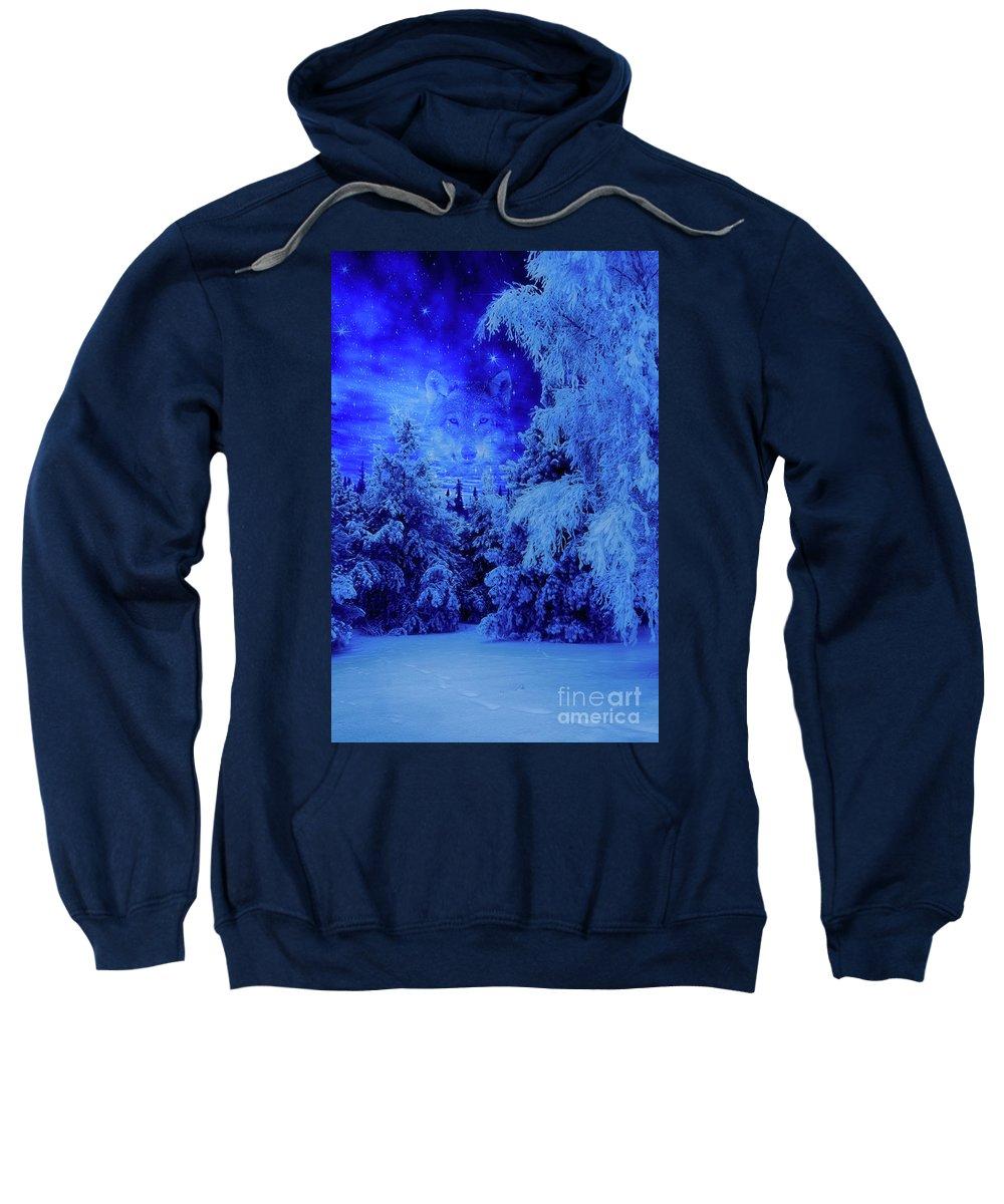 Blue Sweatshirt featuring the digital art Wolf's Night by Veikko Suikkanen