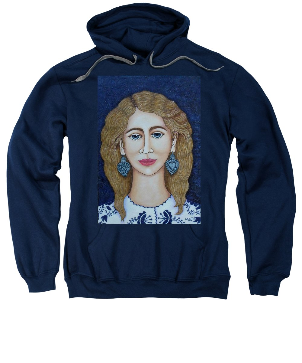 Woman Sweatshirt featuring the painting Woman With Silver Earrings by Madalena Lobao-Tello